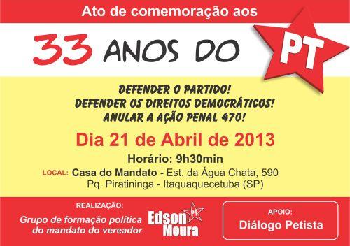Convite - 33 anos do PT
