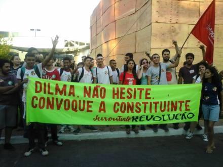 Juventude e Revolução presente no ato em Brasília.